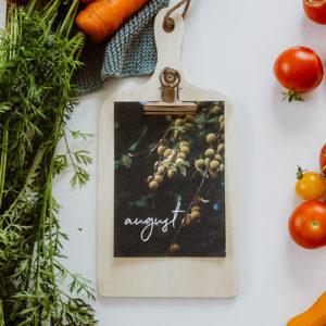 Küchenklemmbrett mit Monatsbildern – Blüten und Blätter