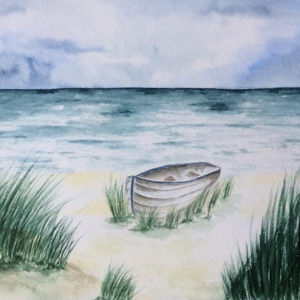Aquarell – Boot am Strand 24 cm x 32 cm