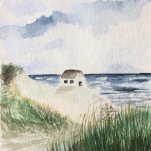 Aquarell – Das kleine Haus am Meer 17 cm x 24 cm