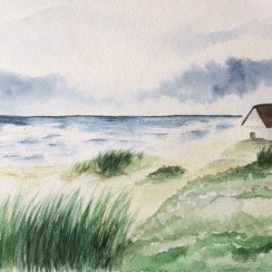 Aquarell – Haus am Meer 24 cm x 32 cm