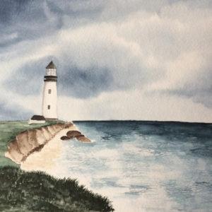Aquarell – Leuchtturm am Kliff 2 aus einer Serie von 3 24 cm x 32 cm